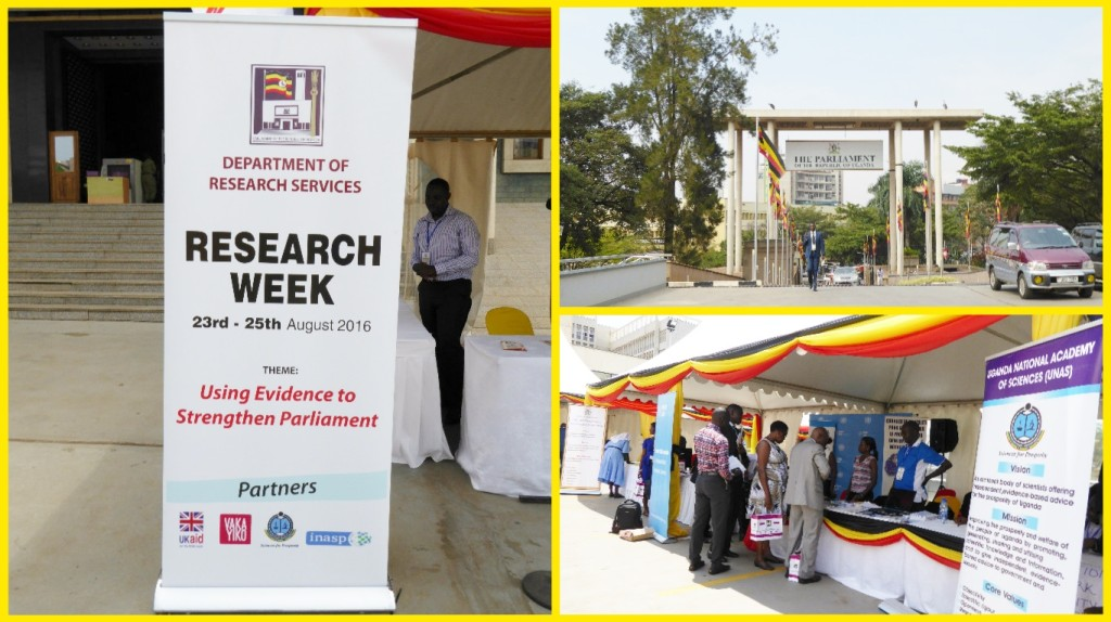 Research Week was well positioned right outside the Parliament of Uganda, ensuring those passing by could visit the exhibition and attend open seminars. The Week was a joint initiative of the Parliament Department of Research Services (DRS) and the Uganda National Academy of Sciences (UNAS), under the VakaYiko programme. Timed to fall at the end of the orientation period for new MPs in the 10th Parliament, it aimed to increase the visibility of the Department within Parliament and highlight the role of research and evidence in Parliaments. http://www.inasp.info/en/work/vakayiko/