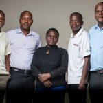 Ronald Munatsi (left) with ZeipNET colleagues and partners: l-r Simbarashe Musarira (Ministry of Youth—Research and Policy Unit), Lennet Munjoma (Ministry of Youth—Research and Policy Unit), Ayan Kachepa (Ministry of Industry & Commerce Research Dept), Gilchriste Ndongwe (ZeipNET).
