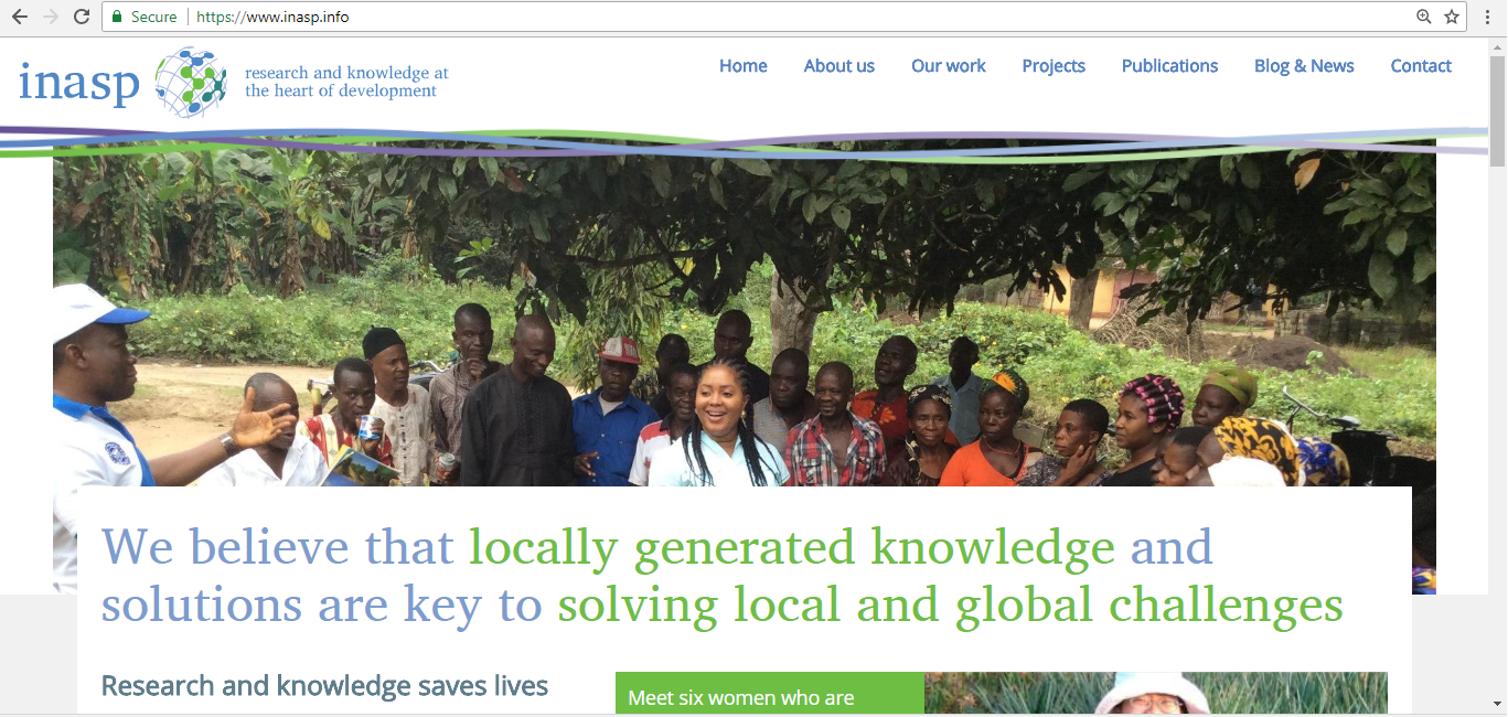 Screenshot of INASP's website home page.