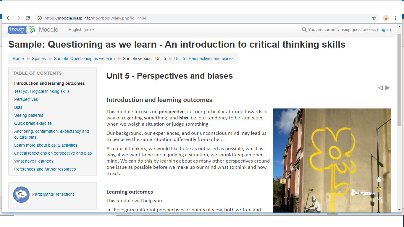 Critical thinking course screenshot.