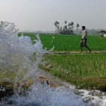 Irrigating rice fields in Sirajganj, Bangladesh.