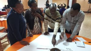 Group work during a face-to-face training of trainers workshop.