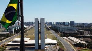 Image of Brasilia with Brazil flag.